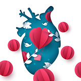 Love balloon landscape. Medical heart illustration.