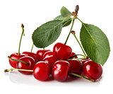 Ripe cherries on white background