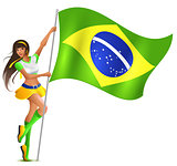 Beautiful woman holding flag of Brazil. Soccer fan