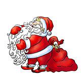 Santa Claus stroking his furry long beard near the large red bag