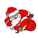 Angry and evil Santa Claus Ded Moroz comes with a big gift bag