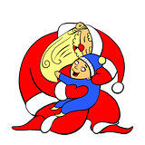 Santa Claus gently holds on his hands and hugs a joyful child