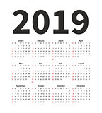 Calendar 2019 year vector design template. Simple minimalizm style. Week starts from Sunday. Portrait Orientation. Set of 12 Months.