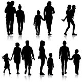 Set silhouette of happy family on a white background