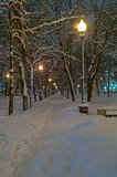 Boulevard, covered with fresh snow.