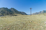 Small power line in the Altai mountains. Russia.