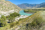 The inflow of Katun river. Altai Mountains, Russia.