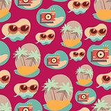 Seamless background pattern with summer elements