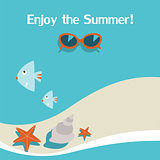 Summer background with sea,beach,sunglasses,starfish and fish. Vector illustration