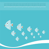 Sea life background with lovely cartoon fishes. Vector illustration