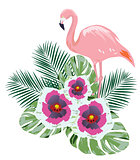 Vector Flamingo Flowers
