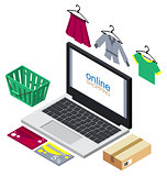 Online shopping concept illustration. Buying clothes internet
