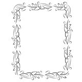 Flourish frame with leaves and berries in line style