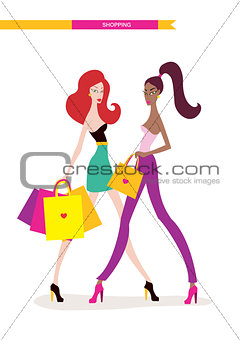Beautiful young women with shopping bags isolated on white background