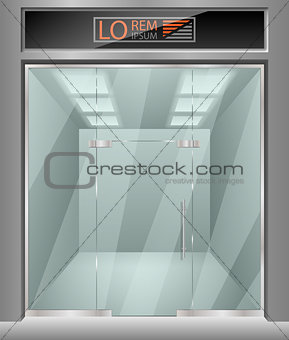 Template for advertising 3d store front facade. Exterior horizontal empty shop for your design. Blank mockup of stylish glass street shop exterior. Vector illustration