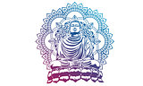 Buddha over ornate mandala round pattern esoteric, shining buddh