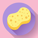 Yellow shower sponge cartoon icon. Illustration for web and mobile design.