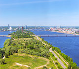Aerial view of Riga from TV tower. Daugava, Latvia