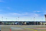 Airplane at stationary terminal gates airport Riga