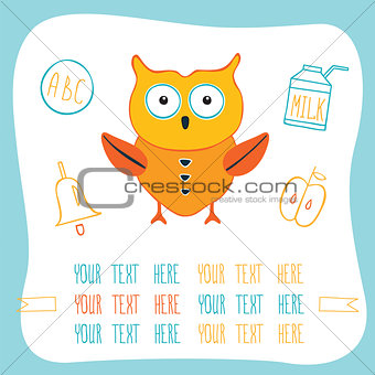 Cute cartoon owl, milk, ring bell and apple. Back to school concept