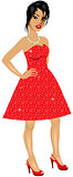 AsianWoman Red Sparkle Dress