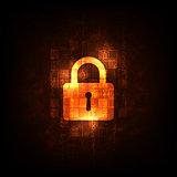 Digital world security system on a dark orange background.