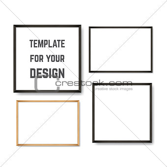 Set of Realistic Light and Dark Wooden Picture Frames on a White Wall.