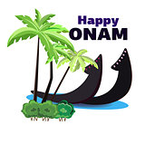 Happy Onam, illustration of a boat on the shore of an oasis