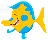 happy cartoon fish animal character