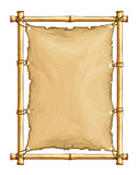 Bamboo frame with old torn textile cloth