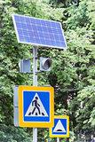 Solar cells and traffic light.