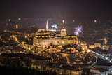 Royal Palace and Fireworks at Night in Budapest, Hungary