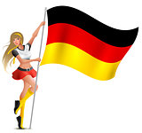 Beautiful woman holding flag of German. Soccer fan cheerleader
