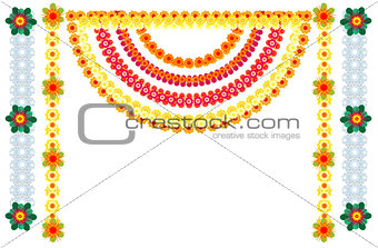 Traditional Indian flower garlands decoration for holiday
