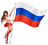 Russian young beautiful woman holding flag. Fan supports soccer team