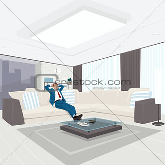 Businessman resting in living room