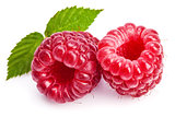 Berry raspberry with green leaves healthy food