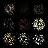 Fireworks set. New Year celebration. Festive night decoration, design element. Vector isolated illustrations on black background.