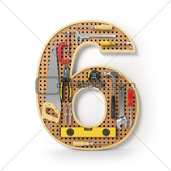 Number 6 six Alphabet from the tools on the metal pegboard isola