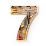 Number 7 seven Alphabet from the tools on the metal pegboard iso