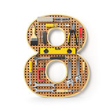Number 8 eight. Alphabet from the tools on the metal pegboard is
