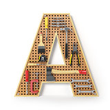 Letter A. Alphabet from the tools on the metal pegboard isolated