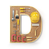 Letter D. Alphabet from the tools on the metal pegboard isolated