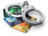 Credit card with handcuffs isolated on white background.  Bankin