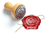 E-mail sign sealing wax stamp isolated on white background.  Int
