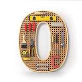 Number 0 zero Alphabet from the tools on the metal pegboard isol