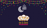 Eid Al Adha Mubarak Funky art Vector Background Design Concept