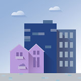 Beautiful cityscape paper art style vector illustration
