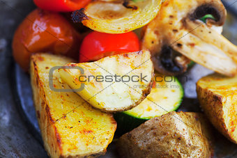 Roasted vegetables on wood