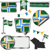 Glossy icons with flag of Portland, Oregon